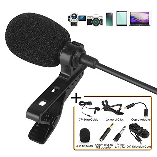 Lavalier Lapel Microphone Kit - Clip on Omnidirectional Lav Mic for iPhone, Ipad, DSLR, GoPro,Camcorder, Zoom, PC, MacBook, Android, Smartphones,Lapel Mic for YouTube, Streaming, Video Recording