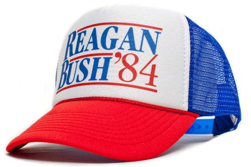 Reagan Bush 84 Campaign Unisex-Adult Trucker Hat -One-Size Royal/White/Red