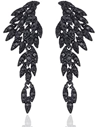 Clear/Black/Gold/Multicolor Crystal Wing Fashion Dangle Earrings