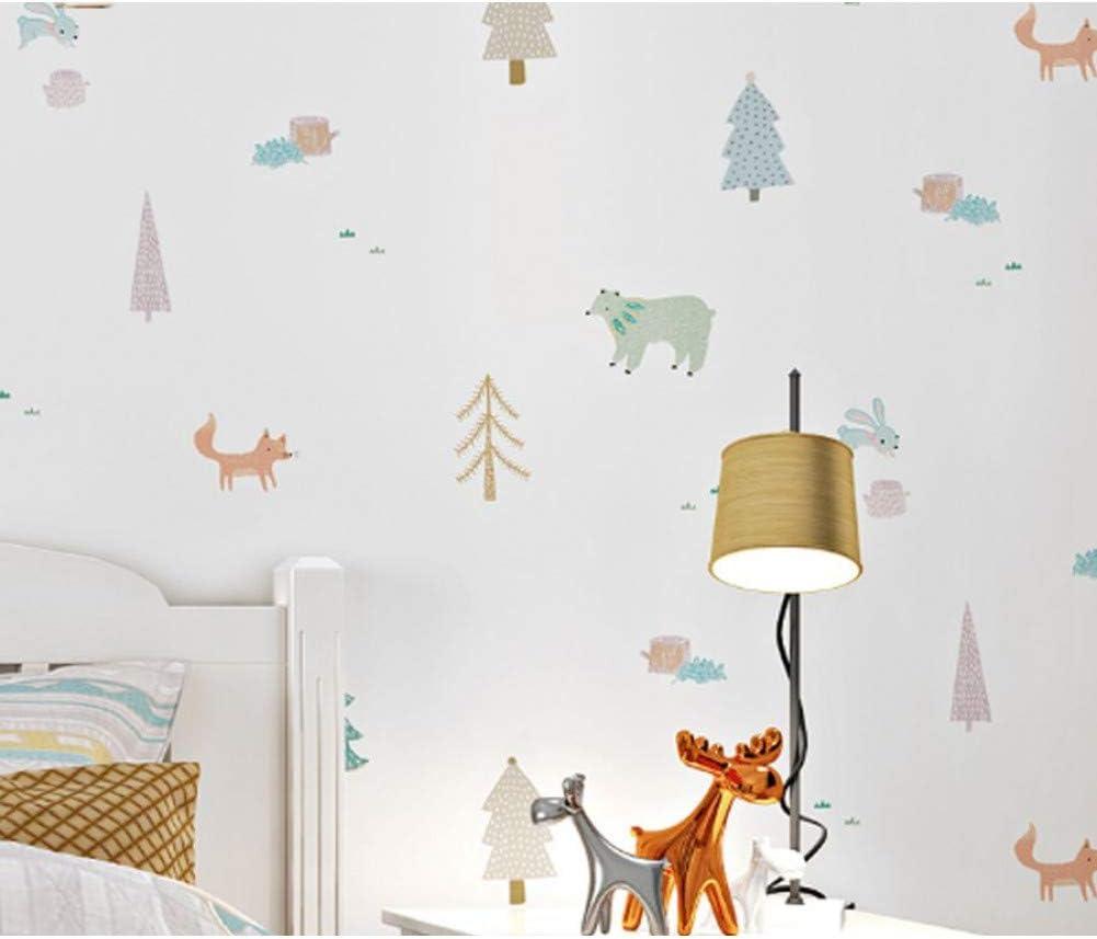 Telihome White Cartoon Tree Animal Kids Boy Dormitorio Rollo de Papel Pintado Para Habitaci/ón de Ni/ños Pvc Y Vinilo Ni/ños Papel de Pared Habitaci/ón de Beb/é Revestimiento de Pared