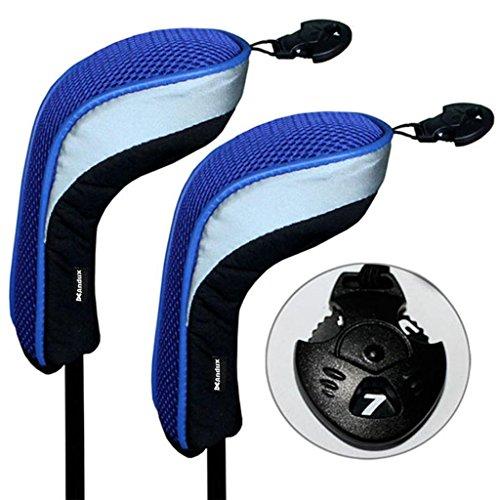 2 Pack Andux Golf Hybrid Club Head Covers Interchangeable No. Tag MT/hy04 Black & Blue ()