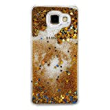IKASEFU Clear Glitter Case for Samsung Galaxy A5(2016),Cool Novelty Funny Hard Flowing Glitter Stars Clear Liquid Shell Case Cover for Samsung Galaxy A5(2016)-Gold