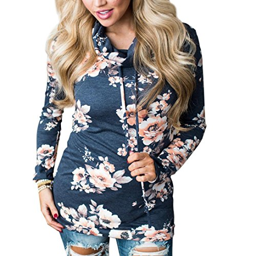 - GBSELL Womens Floral Sport Turtleneck Sweatshirt Pullover Coat Tops Fall Winter (Navy, XL)