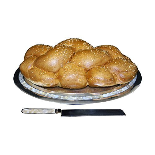 GiftBay Sabbath Challah Large Bread Oval Silver Finish Tray 15″ x 11.5″ and Cutting Knife Set Polished Aluminum Made