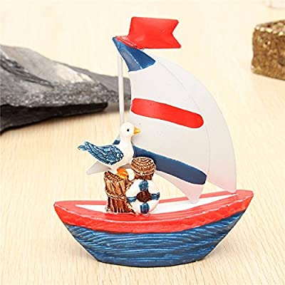 BephaMart New Nautical Decor Mini Wooden Craft Sailing Boat Home Party Table Desk Dislpay: GToys: Toys & Games