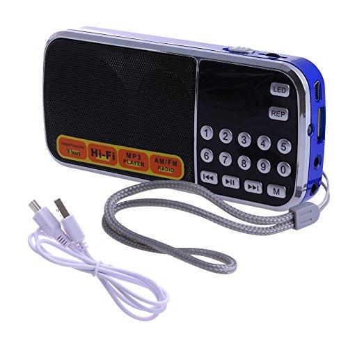 Mimgo Store Mini LCD Receiver LCD FM AM Radio بلندگو USB Micro SD TF Card MP3 Player - آبی