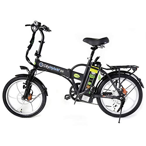 GreenBike Electric Motion City 350W 48V Folding Electric Bike - Black/Silver
