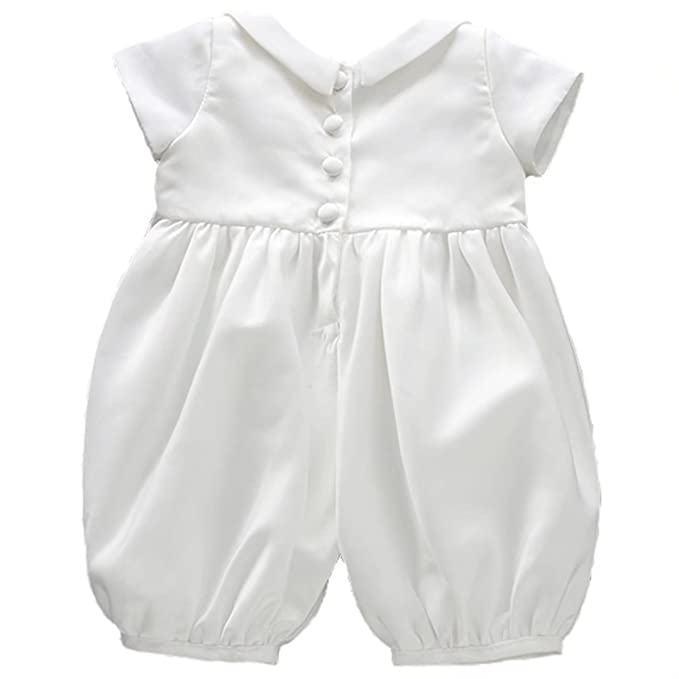 7ed6df0f3 ADHS Infant Baby Boy Christening Clothes White Romper Costumes and Hat(White ,0-