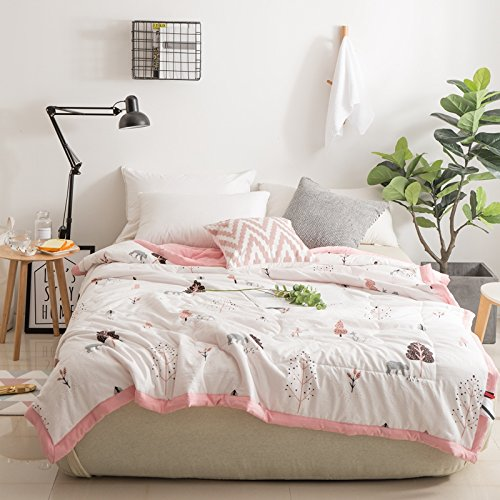 KFZ Cotton Quilt Comforter Cotton Bedspread Bed Cover for Bedding Set CJF SXM Kids twin Full Queen Size Polar Bear Princess Crown Design for Adults Kids Teens 1pc (Plant Tree, Pink, Kids 43''x59'')