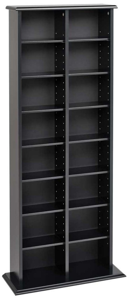 Prepac BMA-0320 Double Media (DVD,CD,Games) Storage Tower, Black by Prepac