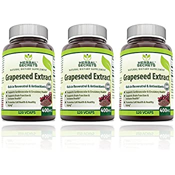 Herbal Secrets Grapeseed Extract 400mg 120 Capsules- (Pack of 3)