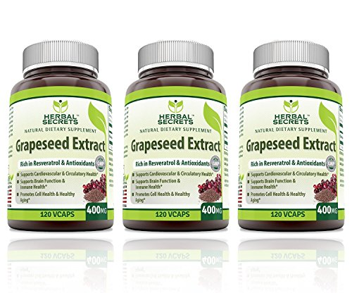 Herbal Secrets Grapeseed Extract 400mg 120 Capsules– (Pack of 3)