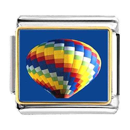 GiftJewelryShop Gold Plated Travel Hot Air Balloon Bracelet Link Photo Italian Charm Bracelets