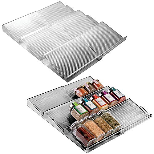 - mDesign Adjustable, Expandable Plastic Spice Rack, Drawer Organizer for Kitchen Drawers - 3 Slanted Tiers for Garlic, Salt, Pepper Spice Jars, Seasonings, Vitamins, Supplements - 2 Pack - Smoke Gray