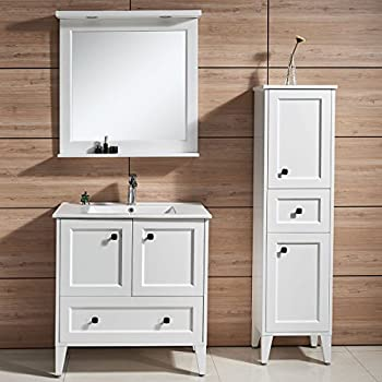 Amazon.com: Adeco Free-Standing 3-Shelf Bathroom Cabinet, White ...