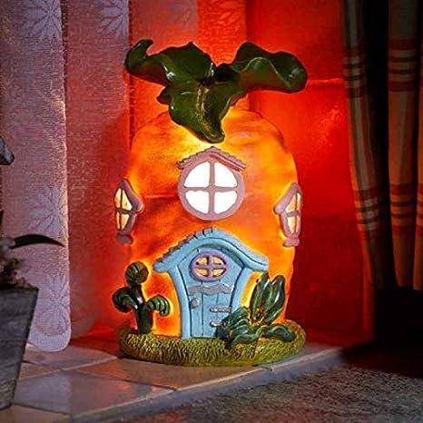 garden mile/® Novelty Banana Fruit Themed Light Up Fairy House Battery Operated Night Light Banana Abode Gnome Fairy Garden Tree House With LED Lights Enchanting Home Ornaments.