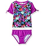 Jessica Simpson Big Girls' Floral Rashguard Two Piece Swimsuit Set, Multi, 12
