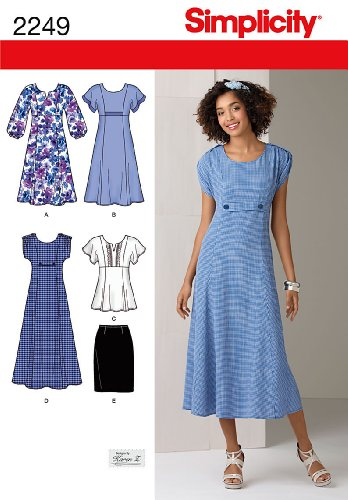 (Simplicity Designs by Karen Z Pattern 2249 Womens Dress in 2 Lengths, Tunic, and Skirt Sizes 20W-28W)