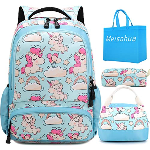 Girls School Backpacks Unicorn Kids Daypack Bookbags Set 3 in 1 Students School Bag and Lunch Tote Bag Pencil Case (Sky Blue)