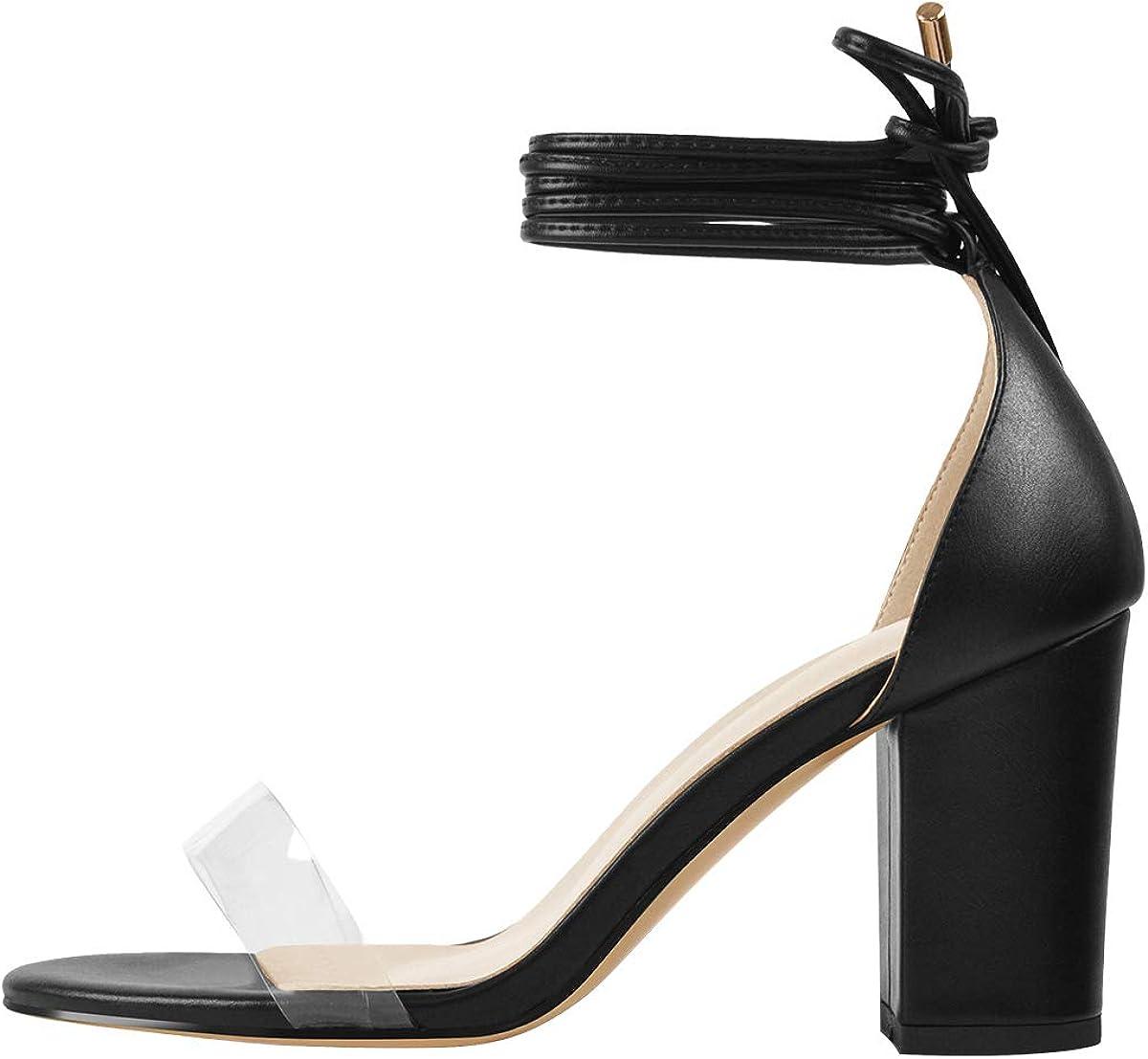 Clear Gladiator Chunky Heel Sandals