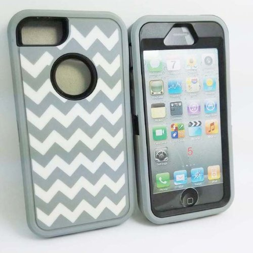 Allmet TM DELUXE Chevron Wave Hybrid Rubber Silicone Cover Case For iPhone 5 5S, Chevron Wave Print Hard Soft High Impact Hybrid Armor Case Combo for iPhone 5 5S, Hybrid 3 PIECE ZEBRA HARD PROTECT CASE COVER SKIN FOR iPhone 5 5S (Gary +Black with White Wave)
