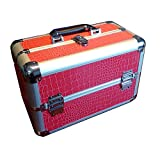 Makeup Train Case Aluminum Cosmetic Jewelry Organizers Pink Artificial Leather