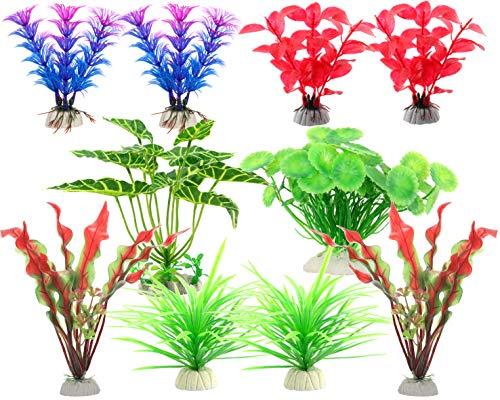 WOO-WIN Artificial Plants Aquarium Decorations, Fish Tank Derorations, Red, Purple, Green, 10 Pieces
