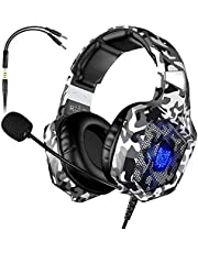 VersionTECH. Casque Gaming Filaire pour PC avec Microphone Anti-Bruit, Contrôleur de Volume, Son Surround, Lumières LED Compatible avec PS4 Xbox One Nintendo Switch Macbook iPad - Camouflage Vert