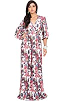 KOH KOH Womens Plus Size Long Kimono Sleeve Flowy Floral V-neck Casual Summer Maxi Dresses Formal Party Gown, Color Crimson Red, Size 2X Large / XXL / 18-20