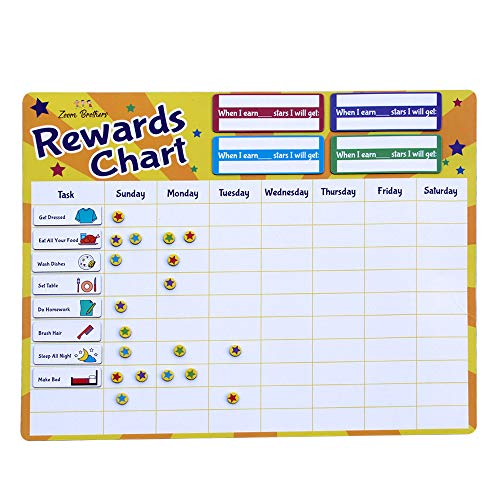 Kids Rewards Chart for Chores and Behavior - Magnetic Stars, Dry Erase - Customizable for 1 to 4 Kids, Toddlers and Teens - Inspire Responsibility and Develop Healthy Habits