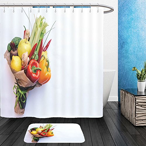 Vanfan Bathroom 2Suits 1 Shower Curtains & 1 Floor Mats the original unusual edible bouquet of vegetables and fruits on white with copy space 645825379 From Bath room