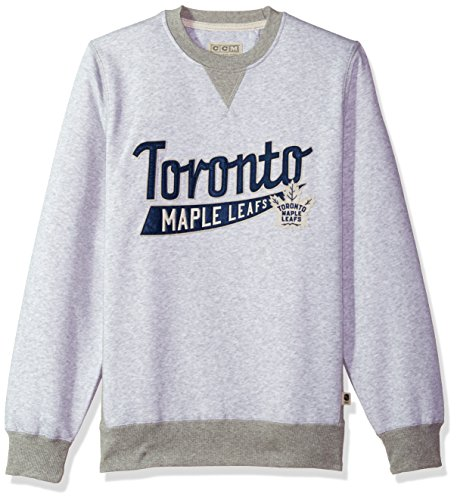 adidas NHL Toronto Maple Leafs CCM Finished Crew Fleece, Light Grey Heathered, ()