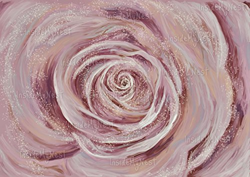 Flower Floral Art Painting (Rose Art Wall Decor Oil Painting Flower Floral Print Blush Vintage Art Deco Poster Magical A3 16x11 Unframed)