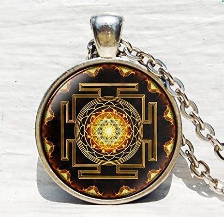 Amazon sri yantra pendant buddhist sacred geometry jewelry sri yantra pendant buddhist sacred geometry jewelrysacred geometry jewelry ancient mandala antique aloadofball Image collections