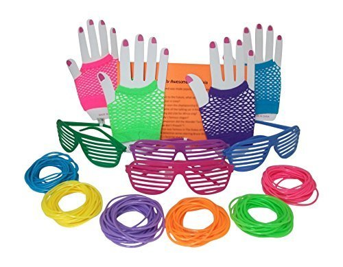 80s Rock Star or Pop Dress-Up Set for 12 - 12 Pairs Fingerless Fishnet Wrist Gloves, 12 Sunglasses, 144 Neon Gel Bracelets and 80s Trivia Questions by (Disco Themed Clothes)