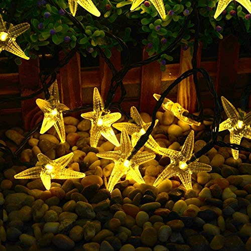 Original Starfish Solar String Lights, 20ft 30 LED Fairy Halloween Christmas Lights Decorative Lighting for Indoor/Outdoor, Garden, Home, Patio, Lawn, Party and Holiday Decorations(Warm White)
