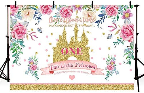 Mehofoto Kingdom Little Princess 1st Birthday Photo Background Banner Spring Floral Gold Sequin Castle Girl One Fairy Tale Theme Birthday Party