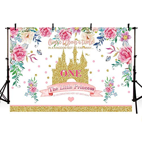 MEHOFOTO Kingdom Little Princess 1st Birthday Photo Background Banner Spring Floral Gold Sequin Castle Girl One Fairy Tale Theme Birthday Party Decorations Backdrops for Photography -