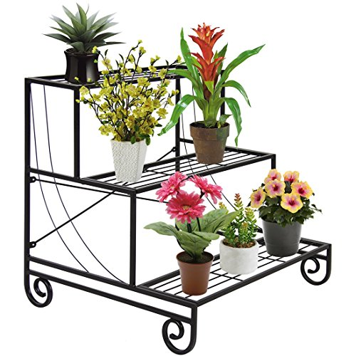 Holder Flower Pot -3 Tier Metal Plant Stand Decorative Planter Shelf Rack Black