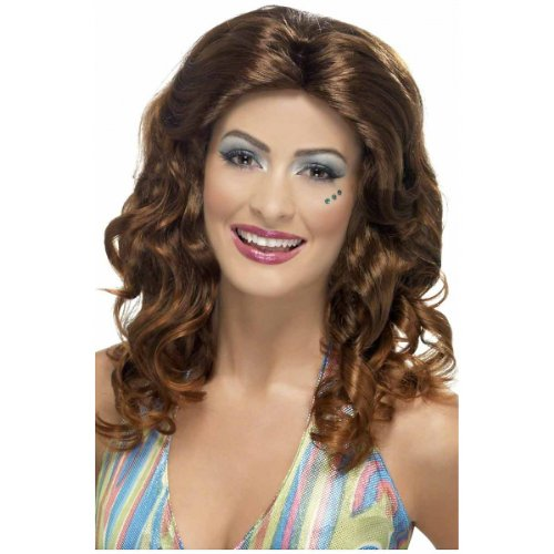 Smiffy's Women's Curly Brown Wig with Centre Part, One Size, Dancing Queen Wig, 5020570424568