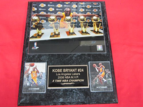 Kobe Bryant Los Angeles Lakers 2 Card Collector Plaque w/8x10 Five Time Championship Photo
