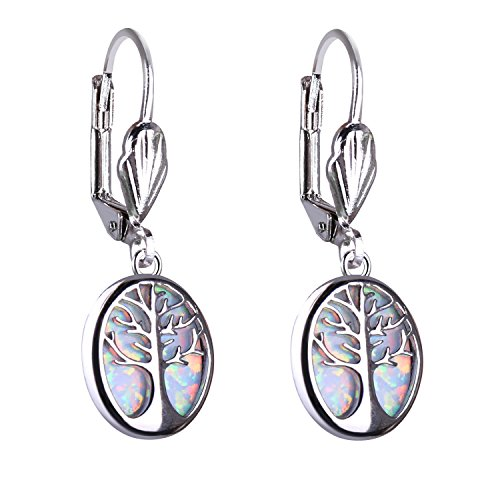 KELITCH Tree of Life Pendant White Opal Earrings Dainty Charm Jewelry for Mother's - Opal Pearl Mother Of