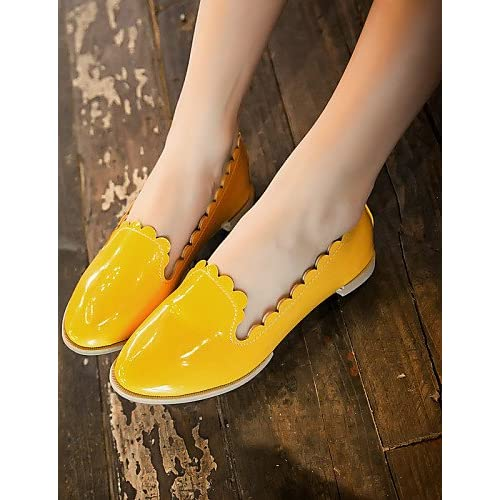 ZQ Zapatos de mujer - Tacón Bajo - Punta Redonda - Oxfords - Casual - Semicuero - Negro / Amarillo / Gris , yellow-us6 / eu36 / uk4 / cn36 , yellow-us6 / eu36 / uk4 / cn36