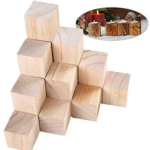"""Efivs Arts 2""""x2""""x2"""" Wood Blocks Unfinished Wooden Block Cubes for Christmas Crafts and Carving-Set of 10"""