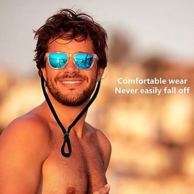 ONME Adjustable Eyewear Retainer, Universal Fit Rope Eyewear Retainer, Sport Unisex Sunglass Retainer Holder Strap, Set of 6 (Black)