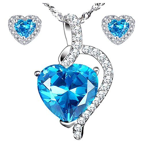 MABELLA 5.1 CTW Simulated Blue Topaz Pendant Necklace Stud Earrings Sterling Silver Jewelry Set ()