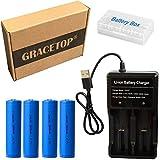 USB Battery Charger with 4pcs 3.7V 3000mAh Battery for AA AAA 18650 Battery Flashlight headlmap Tools (4pcs 18650)