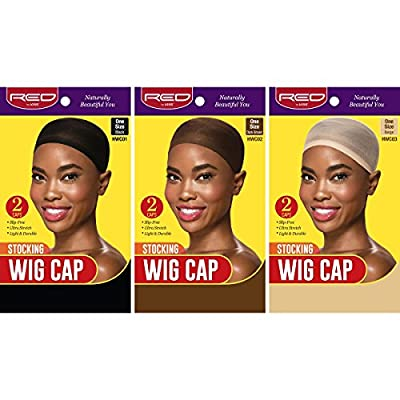 Red By Kiss Stocking Wig Cap 2pcs One Size Durable Ultra Stretch