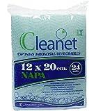 Cleanet: éponge pré-savonnée jetable en fibres 12x20 90grs - Gel dermatologique de pH neutre pour l'hygiène corporelle - 10 paquets x 24 unités (240)