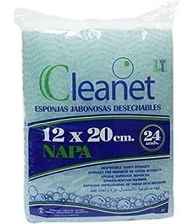 Cleanet: esponja jabonosa desechable napa 12x20 90grs. Higiene corporal con gel dermatológico pH neutro